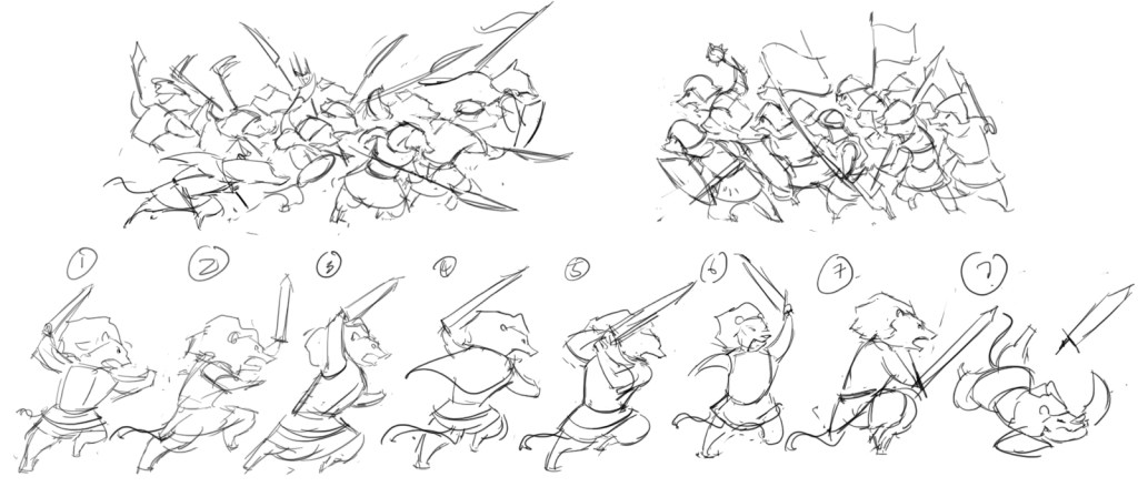 The two armies charging, and the Lion's possible poses.