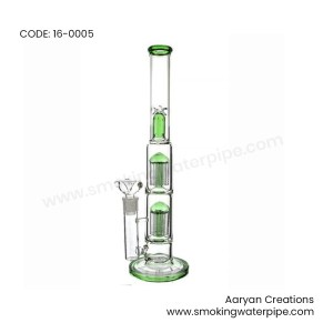 16 INCH Dome Double Tree Perc Stemless Water Pipe GREEN