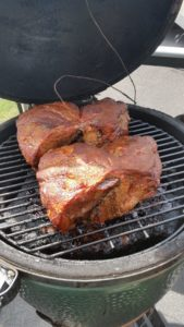 Pork Butts cooking on a Big Green Egg