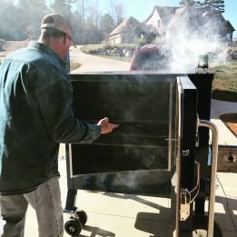 Firing up the Stump Smoker for a Green Ham
