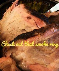 smoke ring on a smoked green ham