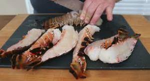 Lobsters split for grilling