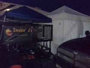 Cooking under tents in Douglas