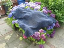 das fertige Tuch auf der Hortensie