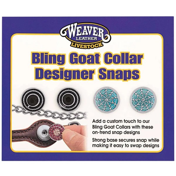 301415S3 Bling Goat Collar Design Snap - Black Crystal/Blue Vortex
