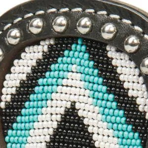 Teal Diamond Beading with Black Leather