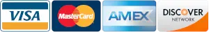 Accepted Payments, Visa, Mastercard, American Express, Discover Card