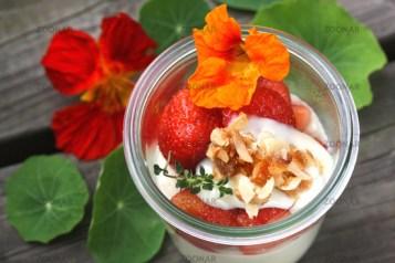 Mandelcreme Bavaroise mit Erdebeeren und Blüten © Liz Collet
