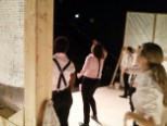 The cast of Titus Andronicus warming up