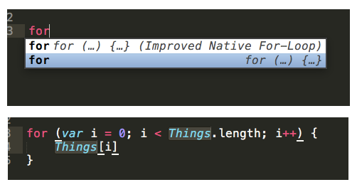 Code Snippets in Sublime Text