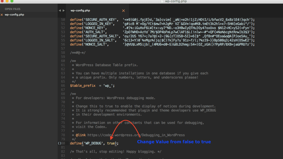 Change WP_DEBUG value from false to true.