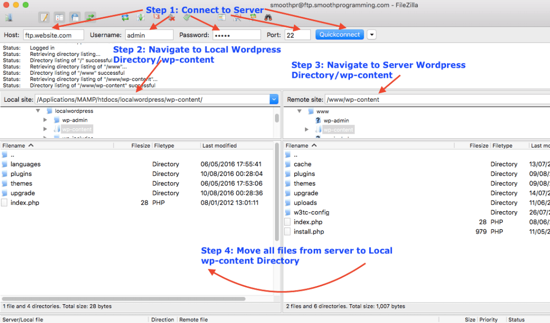 Copy Server WordPress to Local