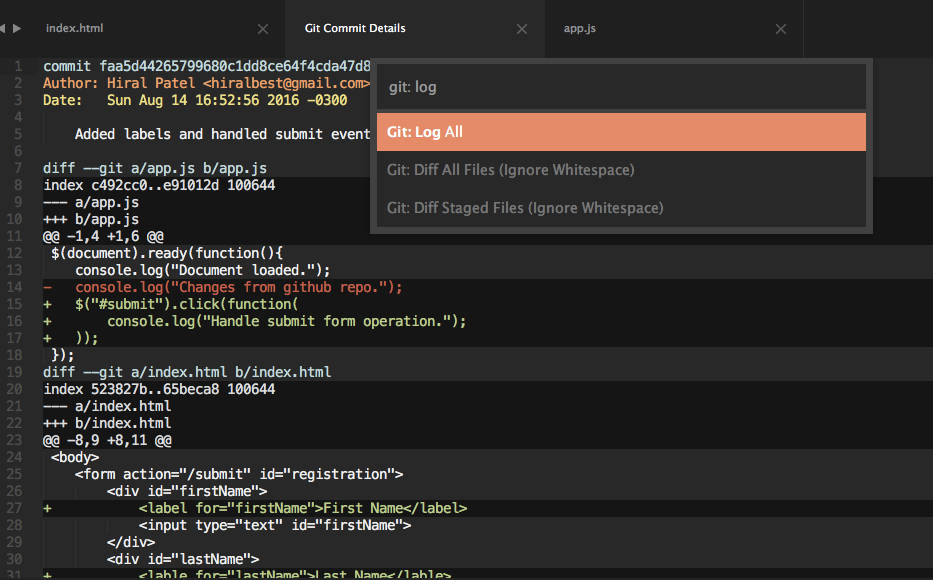 Git Log All in Sublime Text