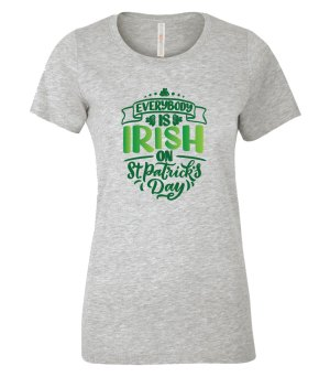 Everybody is Irish on St. Patrick's Day T-Shirt in Athletic Grey