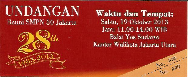 Undangan Reuni Smpn 30 Angkatan 85 Smpn 30 Jakarta