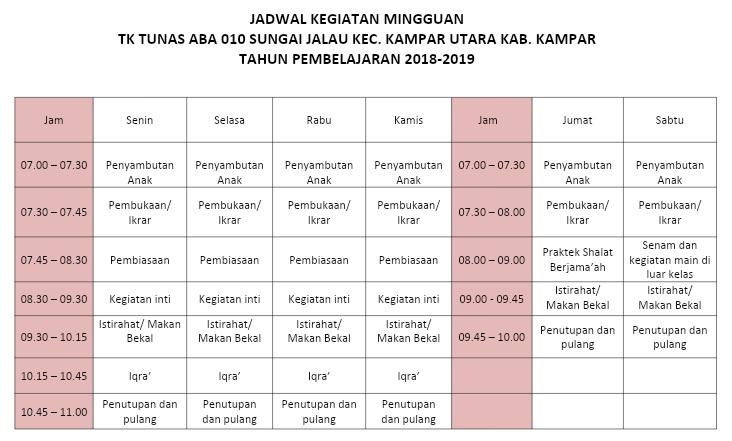 Contoh Format Jadwal Harian dan Mingguan Lembaga PAUD