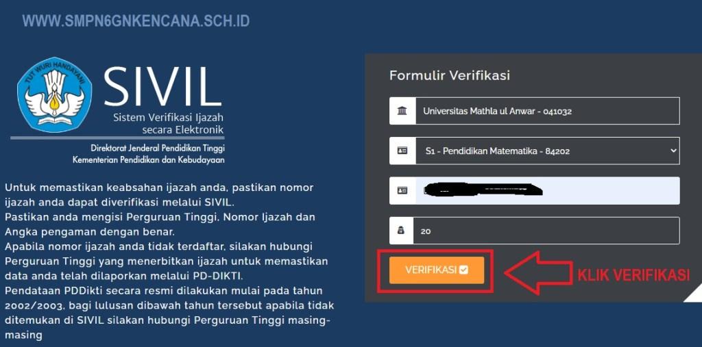 Formulir Verifikasi pada Website SIVIL