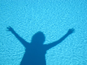 Etheric body: Image of person silhouette in water