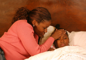 Fever : Mother caring for child