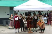 The musicians play music during Renaissance Fair.