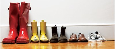 Footwear of varying sizes in a row.