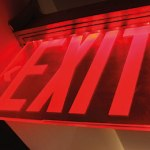 Exit sign for adviser leaving their jobs