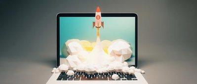 Rocket launching from computer screen