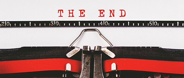 Typed page reads 'THE END'.