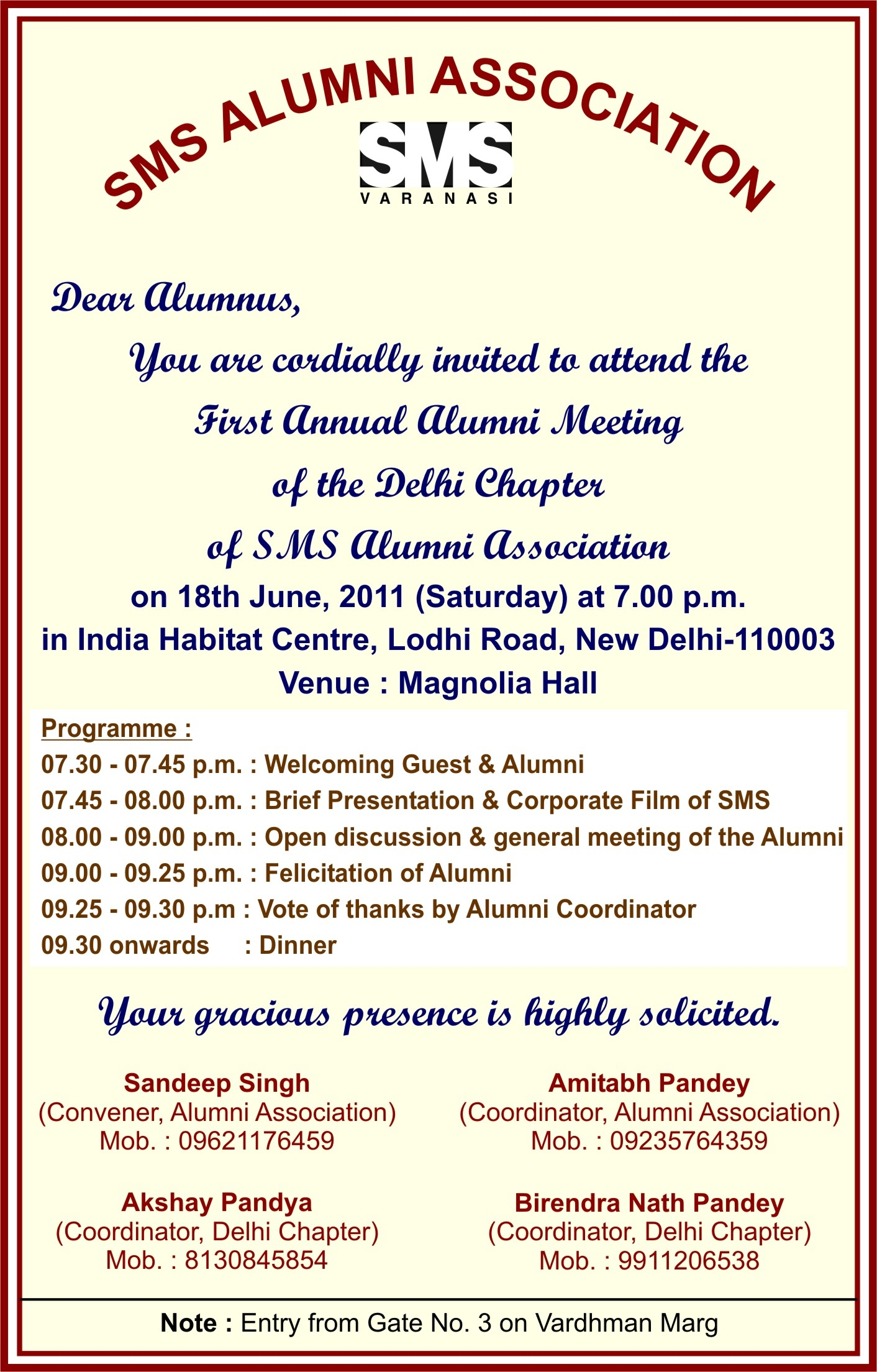 SMS Alumni Association Cordially Invites All The Alumni To