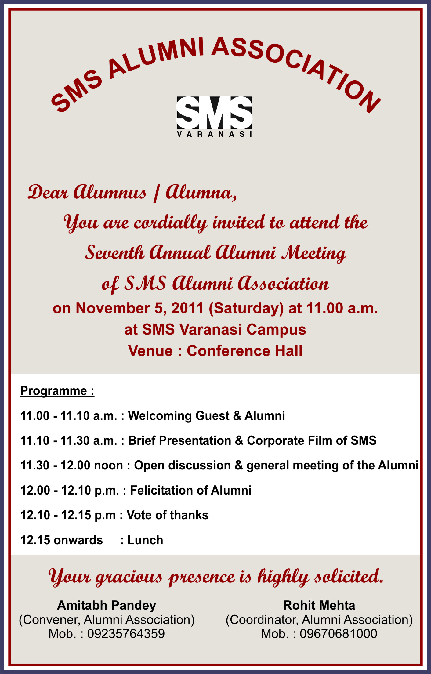 SMS Alumni Association Cordially Invites All The Alumni To