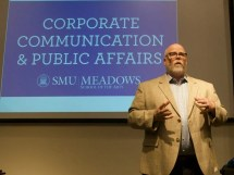 Dr. Owen Lynch speaks to the SMU CCPA Advisory Board
