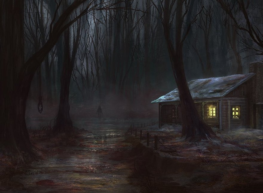 cabin in the dark woods