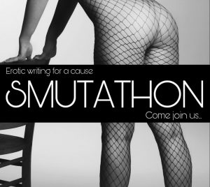 The Smutathon badge showing a woman in fishnets bending over a chair with tagline Erotic writing for a cause