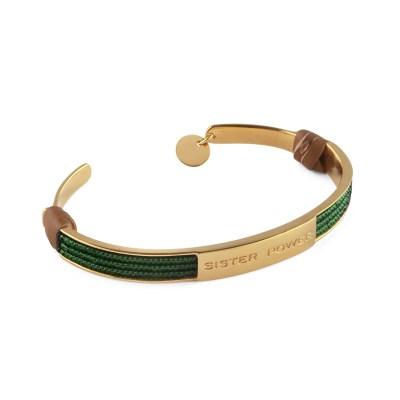 Sister Power armband, guld/grön