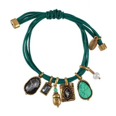 Scarabe charm armband, guld/grön