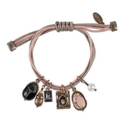 Scarabe charm armband, rosé/sand