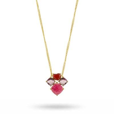 Masika halsband, röd jade/guld