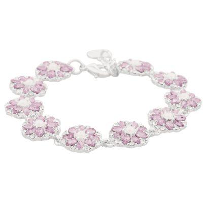 Blossom armband, silver/rosa