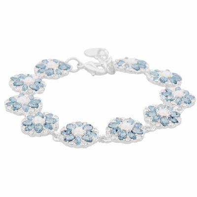 Blossom armband, silver/ljusblå