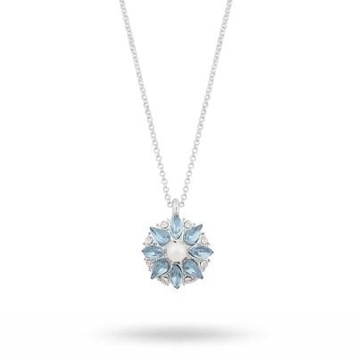 Blossom halsband, silver/ljusblå