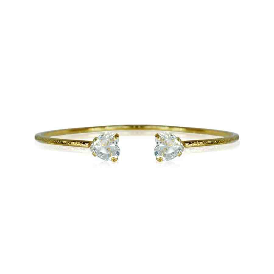 Valentina Heart armband kristall, guld