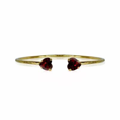 Valentina Heart armband Ruby, guld