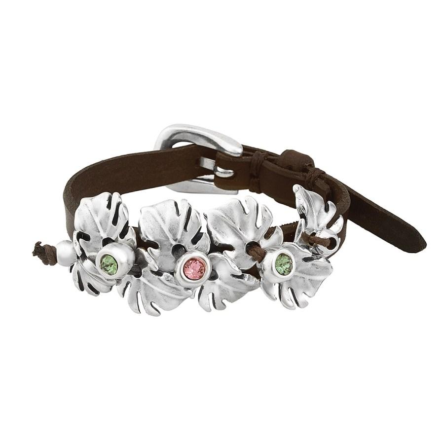 Leaves Armband, silver/brunt