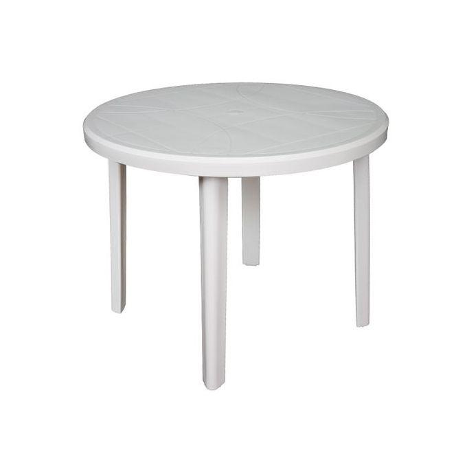 table ronde 4 places progarden plastique motifs carreaux blanc