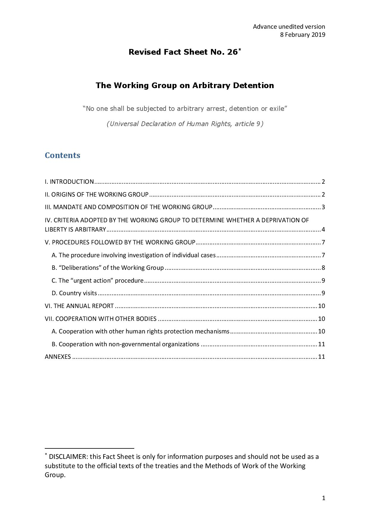 The Working Group On Arbitrary Detention Revised Worksheet