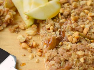 Salted Caramel Apple Pizza is a delicious way to enjoy an apple dessert. Easy to make, this family favorite is great for autumn parties and holidays.