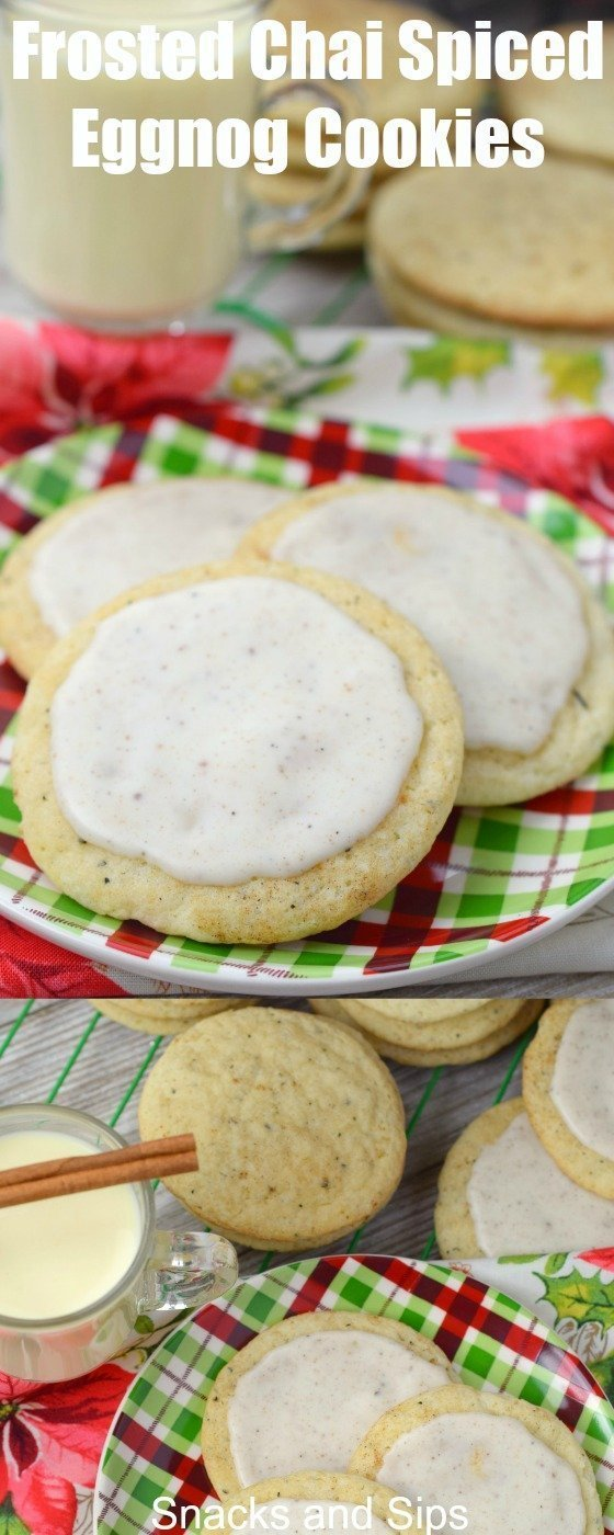 Add delicious Frosted Chai Spiced Eggnog Cookies to your holiday cookie trays! Easy to make, you'll love the flavors in this dessert for Christmas.