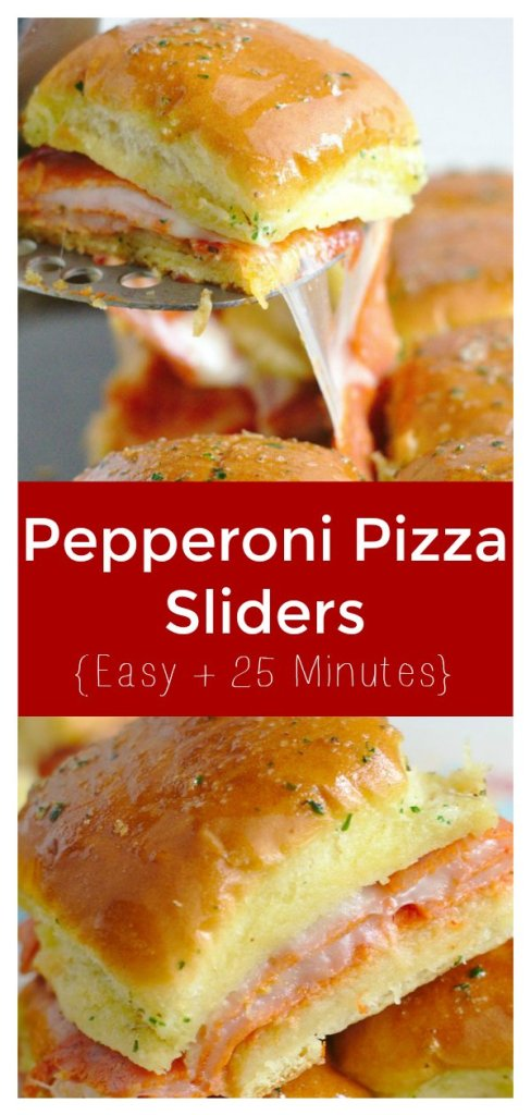 Pepperoni Pizza Sliders - A quick and easy dinner or appetizer that takes less than 30 minutes! Pepperoni, mozzarella, and marinara sauce in individual sliders rolls. This is the ultimate recipe for pizza fans! Slider Recipe   Pepperoni Pizza Recipe   Pizza Appetizer #pizza #appetizer #recipe #easyrecipe