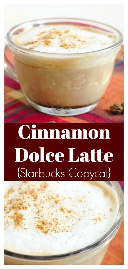 Cinnamon Dolce Latte {Starbucks Copycat} - Save money and make this Starbucks drink at home! Made with just a few simple ingredients, it's so good! Cinnamon Latte | Starbucks Copycat Recipe | Homemade Latte Recipe #drink #starbucks #copycat #recipe