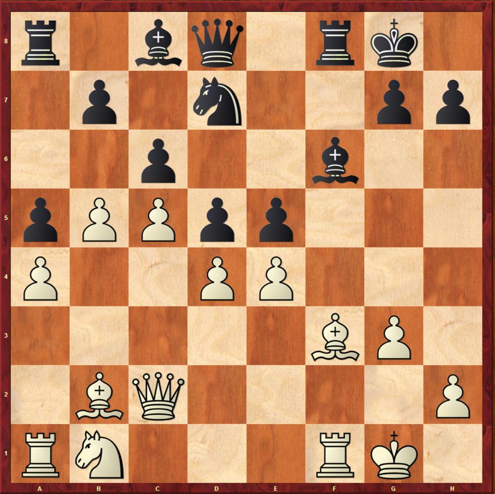 Posición después de 17...e5